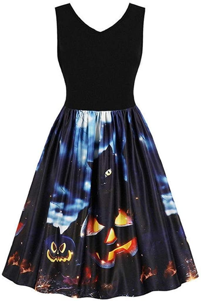 terbklf Halloween Dresses for Women Sleeveless Vintage Pumpkins Halloween Evening Prom Costume Swing Dress Pleated Dress
