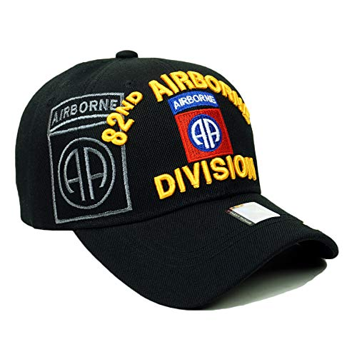 US Military 82nd 101st 173rd Airborne Official Licensed Veteran Baseball Cap (82nd Airborne Division- Black) (Division 173rd Airborne)
