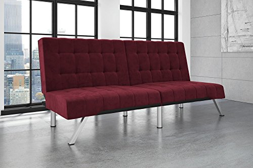 DHP Emily Futon Sofa Bed, Modern Convertible Couch with Chrome Legs Quickly Converts into a Bed, Rich Burgundy Velvet Lounger Futon Frame