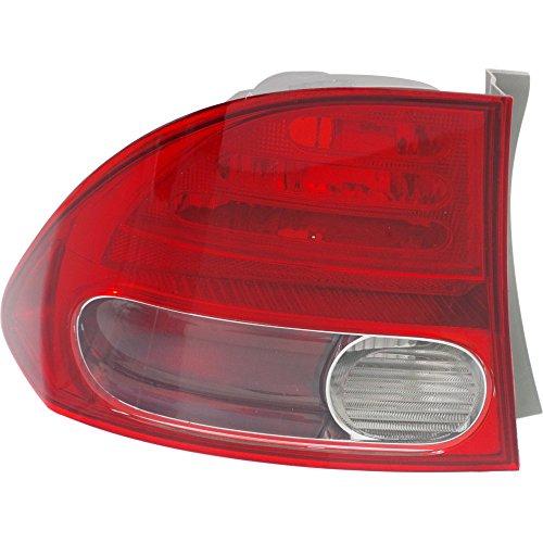 Outer Tail Light 08 (Evan-Fischer EVA15672026317 Tail Light for CIVIC 06-08 Left Side Outer Lens and Housing Sedan)