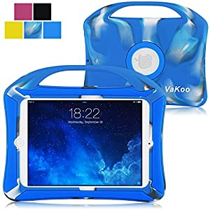iPad Mini 4 Case, Vakoo iPad Mini 4 Kids Proof Shockproof Drops Protection Soft Silicone Heavy Duty Handle Cover Case for Apple iPad Mini 4, Camo/Blue
