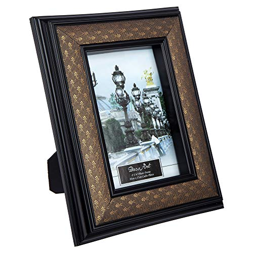 CTG, 4 x 6 inches, Faux Leather Picture Frame, Dark Brown, Black