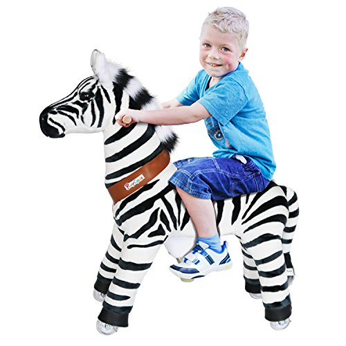 PonyCycle Official Riding Horse Zebra Black and White Giddy up Pony Plush Toy Walking Animal for Age 4-9 Years Medium Size - N4012 by PonyCycle (Image #2)