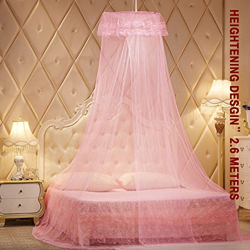 Yimii Round Dome Mosquito Net Princess Bed Canopy, Mosquito Netting Bed Curtains Hanging Canopy for Girls - Pink. by Yimii (Image #1)