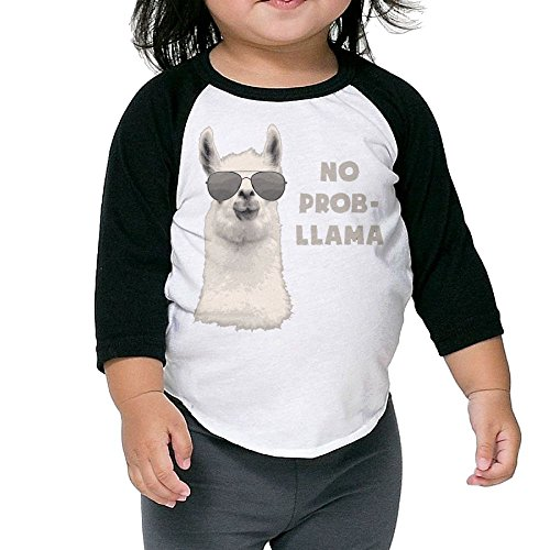 SH-rong No Problem Llama Kids Round Collar Tshirt Size5-6 Toddler