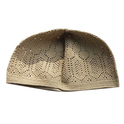 6da7ba3624c Plain Light Brown Cotton Open-Knit Turkish Muslim Islamic Kufi Hat Taqiya  Takke Kofia Skull