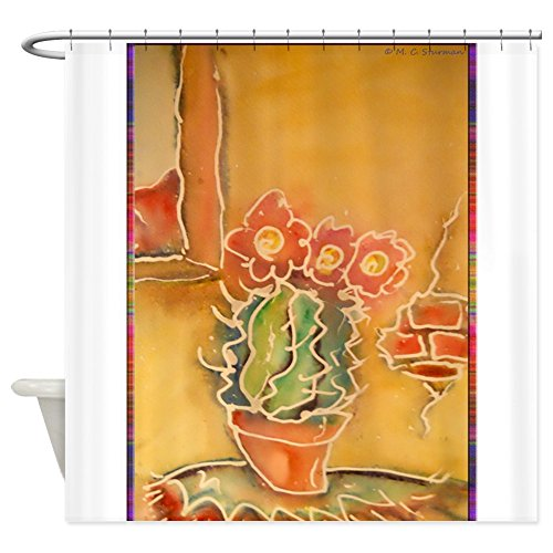 Texas A&m Curtain Rod (CafePress - Cactus! Southwest Art! - Decorative Fabric Shower Curtain)
