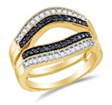 Size 9.5 - 10K Yellow Gold Black & White Round Diamond Ring jacket Wedding Band Ring - Channel Setting - Curved Notched Band (.55 cttw.)