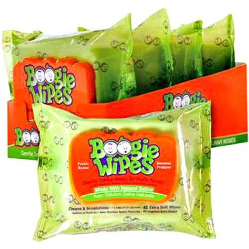 Boogie Wipes Fresh Scent Wipes - 5 Packs Travel Fresh Booger Wipes Bundle - 5 Packs of 10 Count Non-Medicated Travel Pack Boogie Wipes by Boogie Wipes (Image #1)