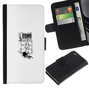 Apple Apple iPhone 4 / iPhone 4S - Dibujo PU billetera de cuero Funda Case Caso de la piel de la bolsa protectora Para (The Ring Girl - Funny)