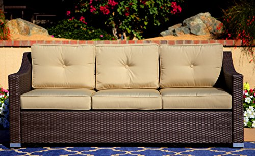 Pike and Pine - 3 Seat Wicker Sofa - Espresso - Outdoor Luxury Comfort