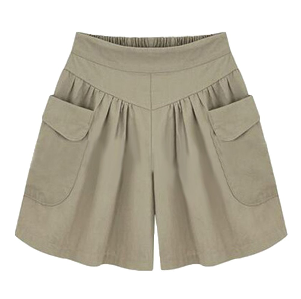 AvaCostume Women's Summer Comfortable Culottes Elastic Waist Wide Leg Pocket Casual Shorts Khaki L
