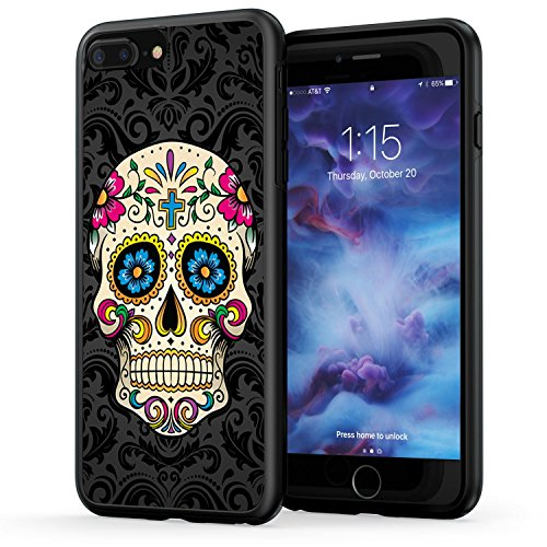 (True Color Case Compatible with iPhone 7 Plus Case & iPhone 8 Plus Skull Case, Colorful Sugar Skull on Damask HD Printed Hybrid Cover Hard +Soft Slim Durable Protective Rubber TPU Bumper - Black)