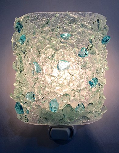 Crystal Waters Clear Aqua Modern Textured Recycled Bottle Glass Night Light Nightlight Nite Lite