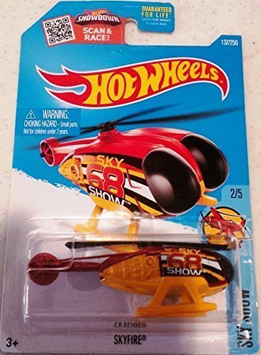 Hot Wheels 2016 Sky Show Skyfire Helicopter 137/250, Maroon