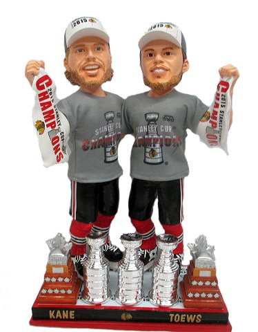 Patrick Kane / Jonathan Toews Chicago Blackhawks Real Fabric Champ T-Shirt/Champ Hat 3X Champ Banner/Cup Base 2015 Stanley Cup Champions Exclusive Bobble Head Double Set #/500