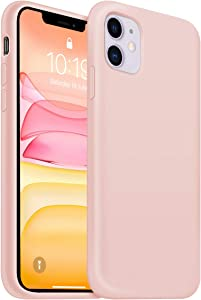 OUXUL iPhone 11 Case,iPhone 11 Liquid Silicone Gel Rubber Phone Case,Compatible with iPhone 11 Case Cover 6.1 Inch Full Body Slim Soft Microfiber Lining Protective Case (Pink Sand)