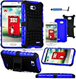 Magic Global Gadgets - Blue Heavy Duty Armour Tough Shock Proof Stand Hard Case Cover For L.G L70 D320N / Dual D325 / LG L70 Dual SIM D325 With Screen Guard, Cleaning Cloth & Stylus Pen
