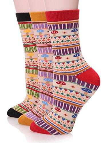 Dosmart Womens Cute Super Thick Warm Cozy Winter Cotton Socks Pack Of 3  Mushroom
