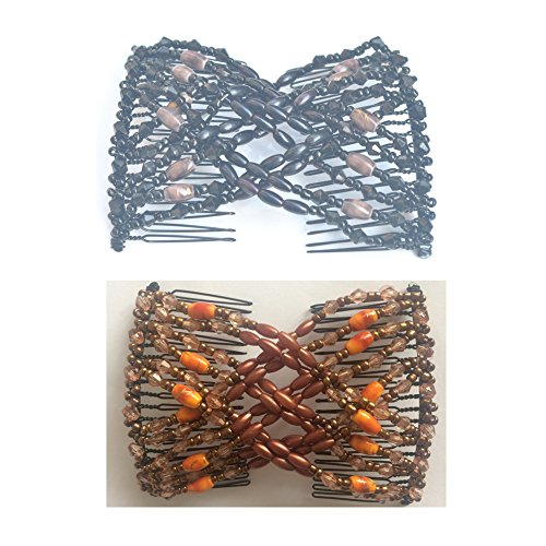 Casualfashion 2Pcs Handmade Beaded EZ Combsâ Stretchable Double Combs As Seen On TV - Classic Black and Retro Coffee