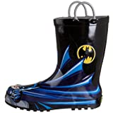 Western Chief Kids Waterproof D.C. Comics Character Rain Boots with Easy on Handles, Batman, 9 M US Toddler