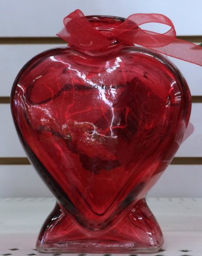 Heart-Shaped Red Glass Bud Vase, 5