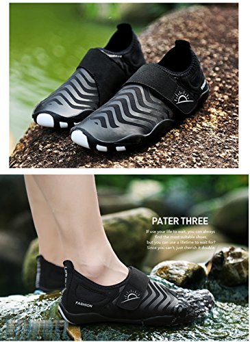 L-RUN Unisex Waten Schuhe Outdoor Mutifunktionale Sport Breathable Mesh Casual Flat-Heeled Schwarz 2
