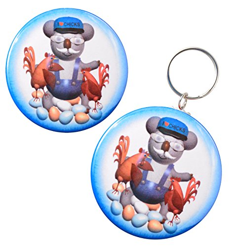 Funny Koala Chicken Farmer Keychain/Ornament + Magnet + Pin-Back Button ()