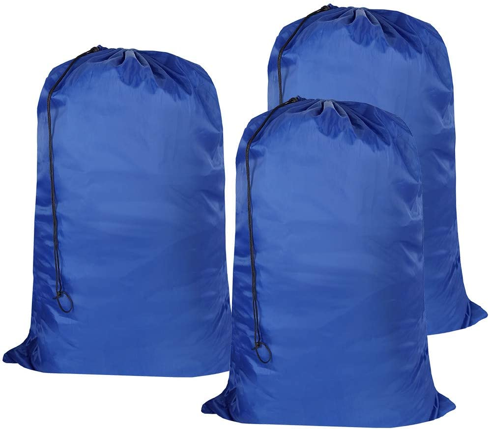 UniLiGis Washable Travel Laundry Bag with Drawstring (3 Pack), Large Dirty Clothes Bag Fit a Laundry Basket or Clothes Hamper, Enough to Hold 4 Loads of Laundry,26x39 inches RoyalBlue