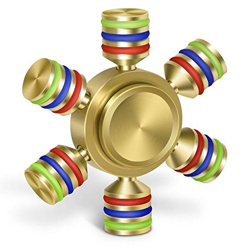 Gold/Rainbow Six Sided Metallic FIDGET Spinner Toy for