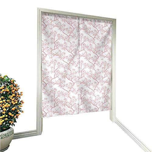 QianHe - Cortina de Puerta Estilo noren, diseño de Mariposas con Rayas y líneas Curvas, Color Rosa, color12, Size: 33.5'...