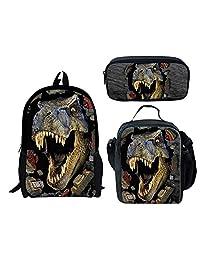 School Backbag with Dinasaur Prints for Children + Pencil Bag + Lunch Bag