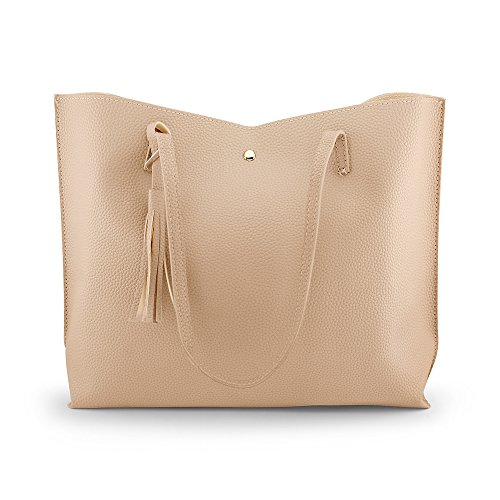 (OCT17 Women Large Tote Bag - Tassels Faux Leather Shoulder Handbags, Fashion Ladies Purses Satchel Messenger Bags - Beige)