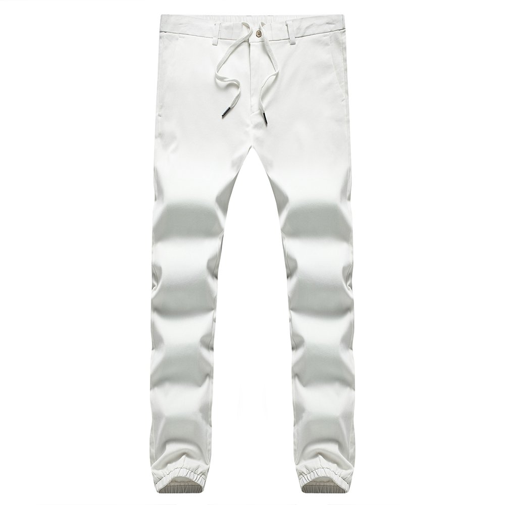 INFLATION Men's Stretchy Casual Jogger Pants  Blend Combed Cotton Formal Elastic Waist Trousers Dress Pants White US SIZE L by INFLATION (Image #2)