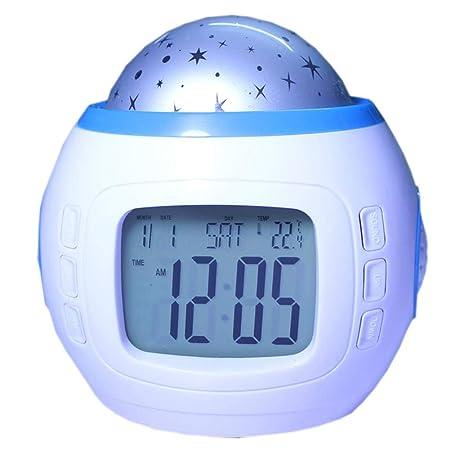 V.JUST Starry Sky Reloj Despertador Proyector Reloj Digital ...