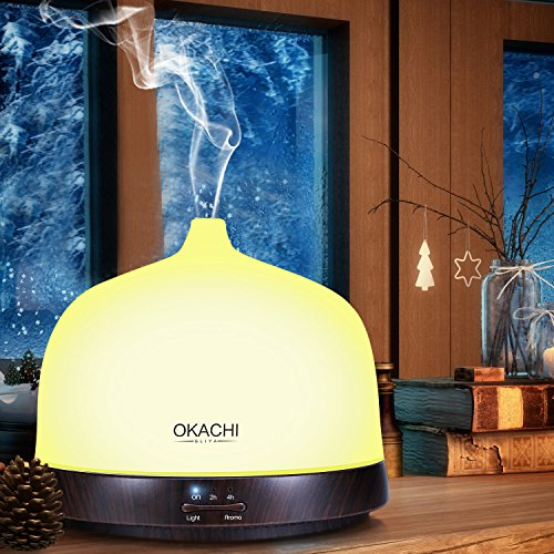 OKACHI GLIYA Essential Oil Diffuser 200ml Aromatherapy Cool Mist Aroma Humidifier (Up to 6H Use, Mist Control, Waterless Auto Shut-Off, 3 Timer Settings, 7 Color LED Lights, Dark Wood Grain, - Hours Holiday Center Independence