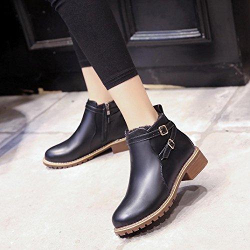 Deesee (tm) Botines De La Motocicleta De Las Mujeres Zapatos Casuales De Otoño Invierno Para Mujer Vintage (us 8, Negro)