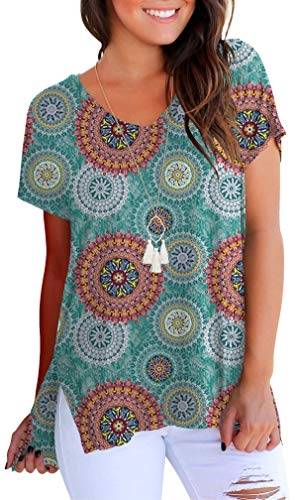 onlypuff Floral Printed Short Sleeve T-Shirt for Women V Neck High Low Tunic Tops Green L