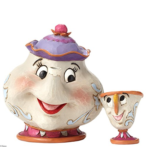 Disney Traditions by Jim Shore Beauty and the Beast Mrs. Potts and Chip Stone Resin Figurine, -