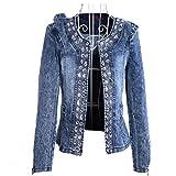 coatsa Diamond Sequins Female Coat Vintage Wash Casual Lady Jeans Cardigan Blue