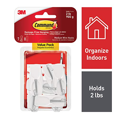 Command 2 lb Capacity Hooks, White, Indoor Use (17065-7ES) ()