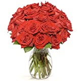 Benchmark Bouquets 2 Dozen Red Roses, With Vase