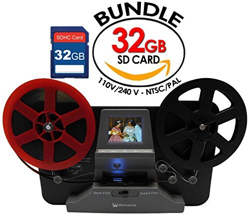 "Wolverine 8mm and Super8 Reels Movie Digitizer with 2.4"" LCD, Black (Film2Digital MovieMaker), Includes 32GB SD Memory Card & Worldwide Voltage 110V/240V AC Adapter (Bundle)"