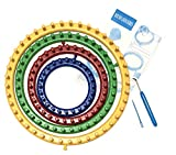 Knitting Loop Board Holder with Hook Kit, Large & Small Knifty Weaving Round Circle Set (Plastic Looms for Scarf, Socks, Hats, Craft Crochet) + Patterns & Instructions for Beginners & Kids