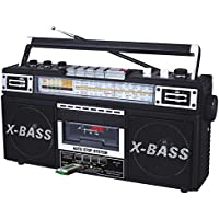 QFX AM/FM/SW1-SW2 4 Band Radio and Cassette to MP3 Converter, and Recorder with USB/SD/MP3 Player