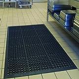 Anti-Fatigue Rubber Floor Mats for Kitchen Bar NEW Indoor Commercial Heavy Duty Drainage Floor Mat Black 36' x 60' Door Mat