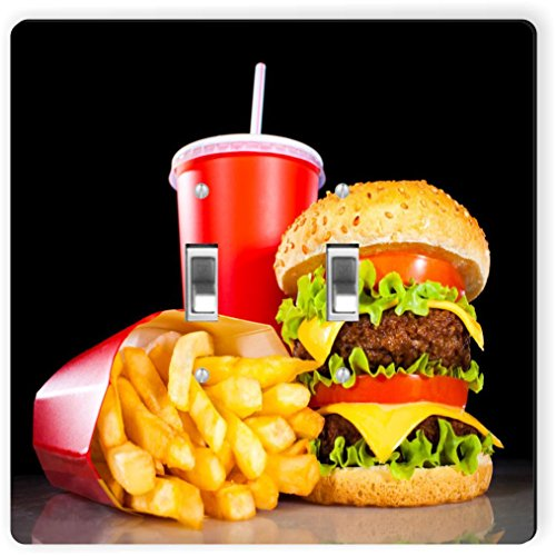 Rikki Knight 1051 Double Toggle Burgers & Coke Design Light Switch ()