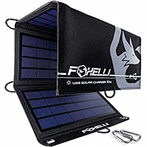 512Cew gtUL. SS300  - Foxelli Dual USB Solar Charger 10W - Foldable Solar Panel Phone Charger for iPhone X, 8, 7, 6s, iPad & Android, Galaxy S8, S7, S6, S5, Edge & more, Portable Solar Power Charger for Camping & Outdoors