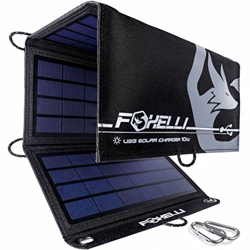 Foxelli Dual USB Solar Charger 10W - Foldable Solar Panel Phone Charger for iPhone X, 8, 7, 6s, iPad & Android, Galaxy S8, S7, S6, S5, Edge & More, Portable Solar Power Charger for Camping & Outdoors -