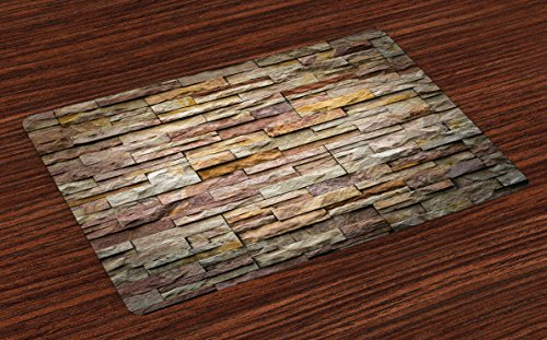 Ambesonne Marble Place Mats Set of 4, Urban Brick Slate Stone Wall with Rocks Featured Facade Architecture Town Picture, Washable Fabric Placemats for Dining Room Kitchen Table Decor, Multicolor